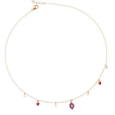 Necklace with mouth of fuchsia cubic zirconia