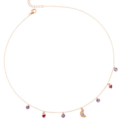 Rose gold plated necklace with multicolor zircon crescent