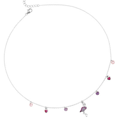 Necklace with cubic zirconia flamingo
