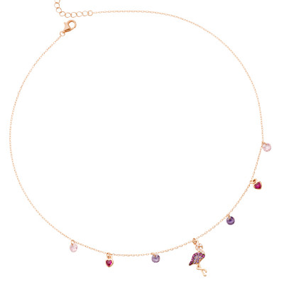 Rose gold plated necklace with cubic zirconia flamingo