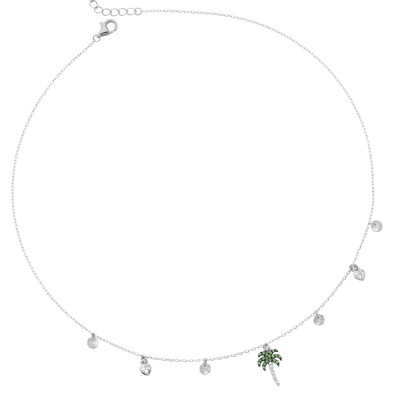 Necklace with cubic zirconia palm