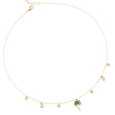 Yellow gold plated necklace with cubic zirconia palm