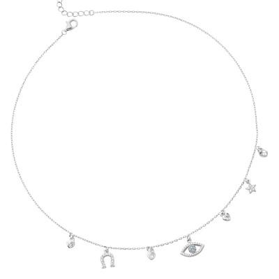 Necklace with eye of Horus and cubic zirconia horseshoe