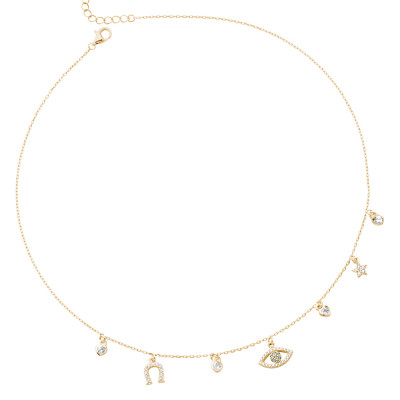 Yellow gold plated necklace with eye of Horus and cubic zirconia horseshoe