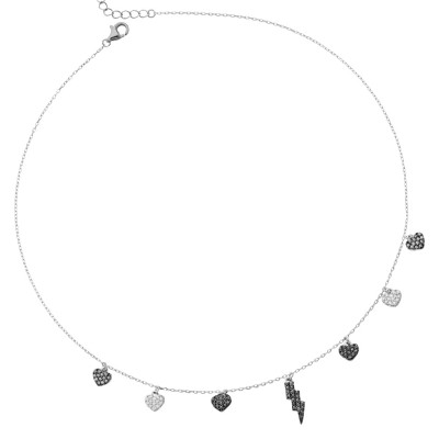 Necklace with lightning and black zircon hearts