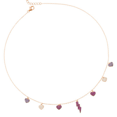 Necklace with lightning and fuchsia zircon hearts