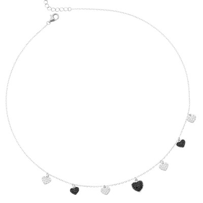 Necklace with black and white zircon hearts