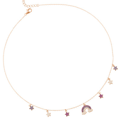 Necklace with rainbow of multicolor zircons and little stars