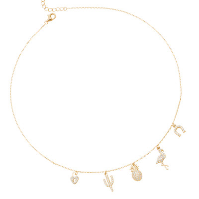 Yellow gold plated necklace with exotic-inspired cubic zirconia pendants