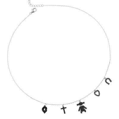 Necklace with fantasy pendants in black zircons