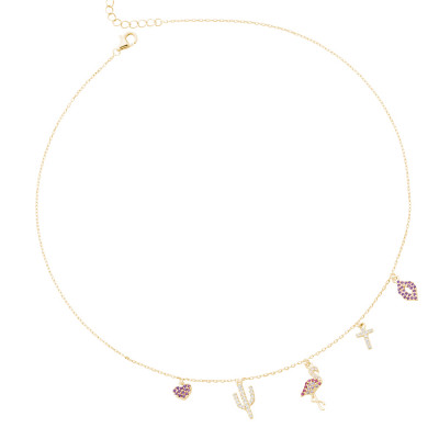 Yellow gold plated necklace with fancy pendants in white and fuchsia zircons