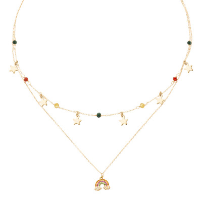 Yellow gold plated double wire necklace with cubic zirconia and rainbow
