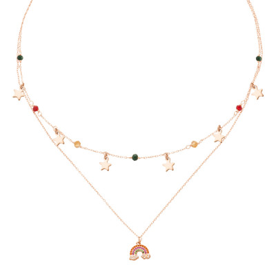 Double strand necklace rose gold plated with zircons and rainbow
