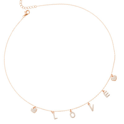 Rose gold plated necklace with zircon pendants with the word LOVE