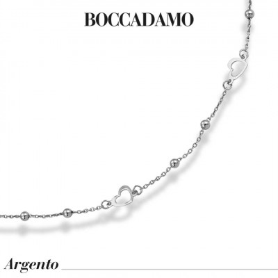 Necklace with openwork hearts and rhodium-plated boule