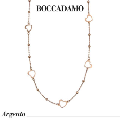 Long rose gold-plated necklace with pierced hearts and boule