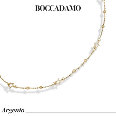 Yellow gold plated necklace with pierced stars and boule