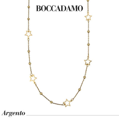 Long yellow gold plated necklace with pierced stars and boule