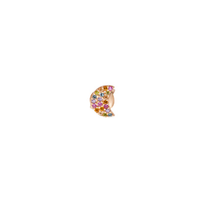 Rose gold plated crescent earring with multicolor zircons