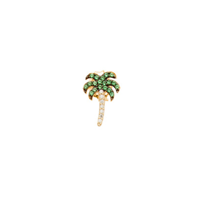 Yellow gold plated earring with cubic zirconia palm