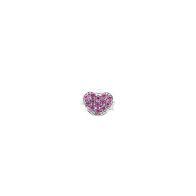 Lobe earring with cubic zirconia heart