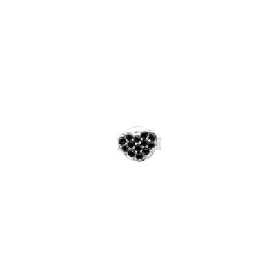 Lobe earring with black zircon heart