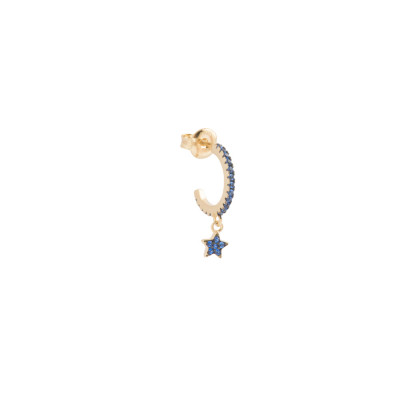 Crescent earring with star of celestial zircons