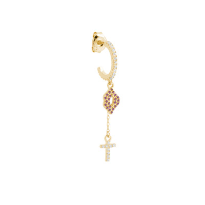 Crescent earring with hanging mouth and cross