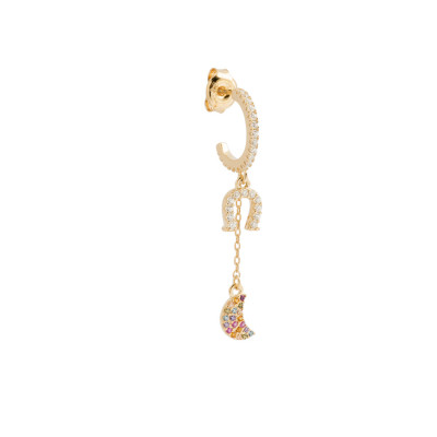 Pendant earring with horseshoe and cubic zirconia crescent