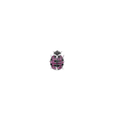 Lobe earring with cubic zirconia ladybird