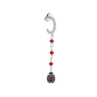 Pendant earring with cubic zirconia ladybug