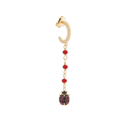 Yellow gold plated earring with cubic zirconia ladybird