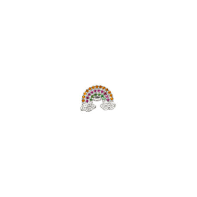Earring with rainbow of multicolor zircons