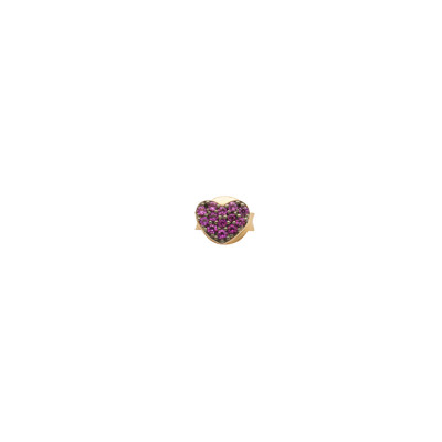 Lobe earring with heart of fuchsia cubic zirconia