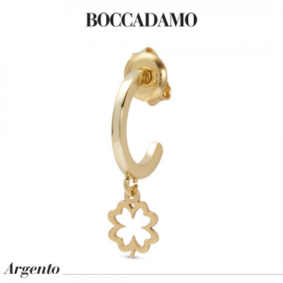 Yellow gold-plated mono earring with perforated four-leaf clover