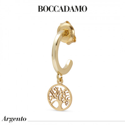 Yellow gold plated mono earring with tree of life
