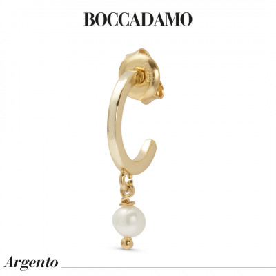 Yellow gold plated mono earring with natural pearl