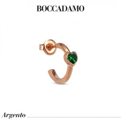Mono earring with heart-shaped emerald green zircon