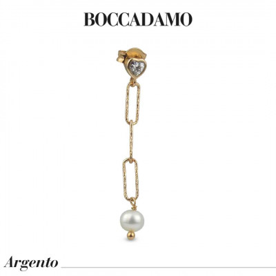 Yellow gold plated mono earring with white zircon and Swarovski pearl