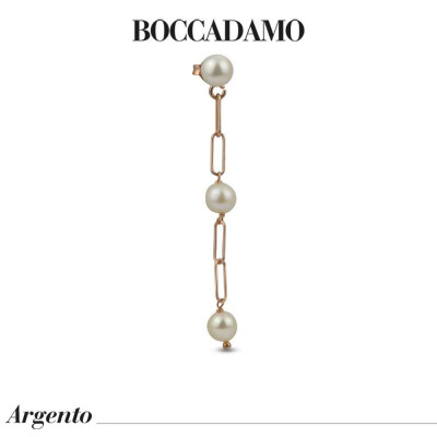 Rose gold plated mono earring with natural dangling pearls