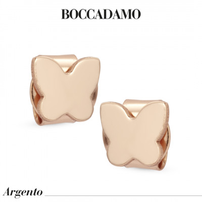 Butterfly-shaped rose gold-plated stud earrings
