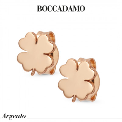 Four-leaf clover-shaped rose gold-plated stud earrings