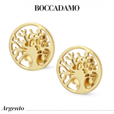 Tree of Life Shaped Yellow Gold Plated Stud Earrings