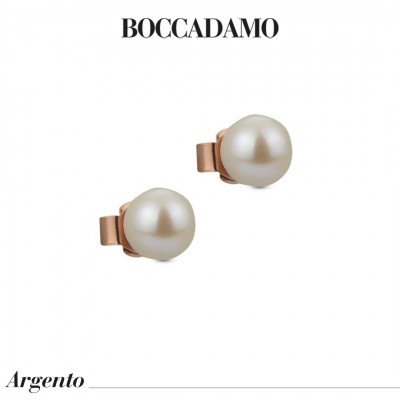 Rose gold plated stud earrings with medium natural pearls