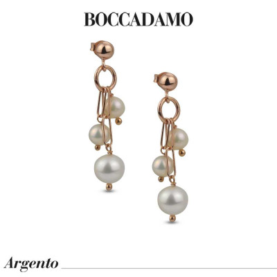 Rose gold-plated tufted earrings with natural pearls