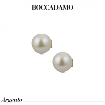 Yellow gold-plated stud earrings with large natural pearls