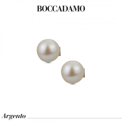 Rose gold plated stud earrings with large natural pearls
