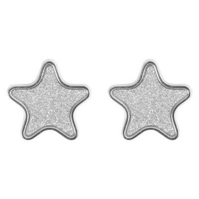 Orecchini a lobo con stella glitterata