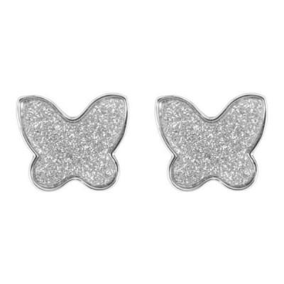 Orecchini a lobo con farfalla glitterata