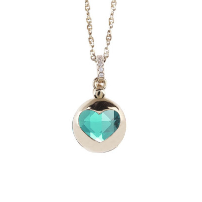 Necklace color gold with retractable heart and crystal clear green